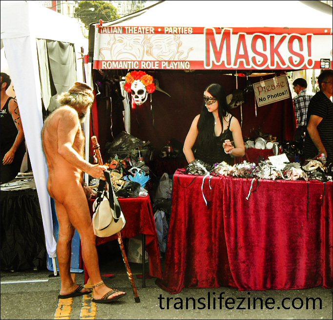 Naked man shopping at the Castro Street Fair.